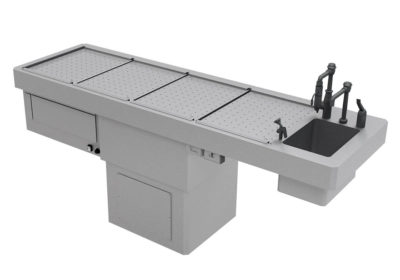 Autopsy Table – Elevating Recirculating Pedestal Style – CE260