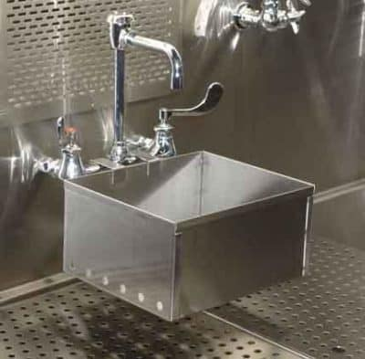 Embalming sink center hydro aspirator stainless steel Embalming room design