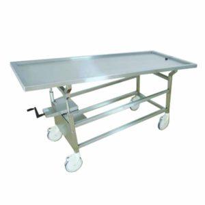 Hand Crank Tilting Autopsy Cart with Optional Tops