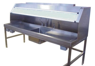 Grossing Station – 84″ Dissection Table, Center Sink – HC375