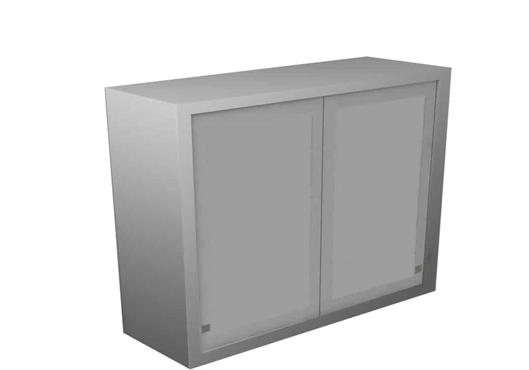 Wall Cabinet Sliding Steel Doors 2 Shelves Various Dimensions