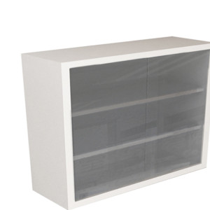 Wall Cabinet – Frameless Sliding Glass Door with 2 Shelves, Various Dimensions