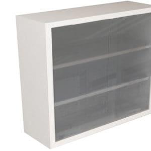 Wall Cabinet – Frameless Sliding Glass Door with 3 Shelves, Various Lengths