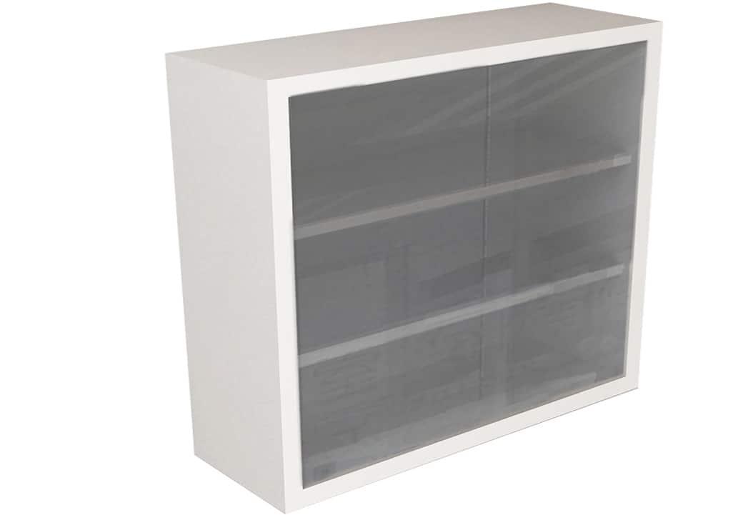 Wall Cabinet Frameless Sliding Glass Door With 3 Shelves Various Lengths