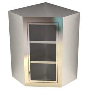 Dead Wall Corner Cabinet – Glass Swing Door, Various Heights