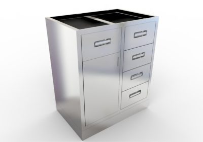 Base Cabinet with 5 Drawers, 1 Door, Various Lengths & Openings