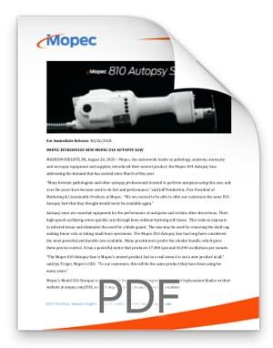 Mopec 810 Autopsy Saw Press Release BD810