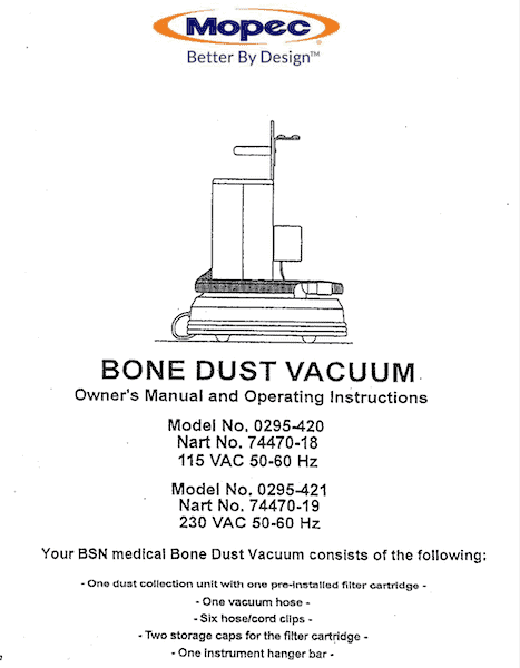 Mopec BD080 Bone Dust Vacuum Manual