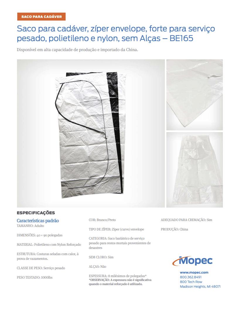 Download Mopec BE165 Spec Sheet - Portuguese