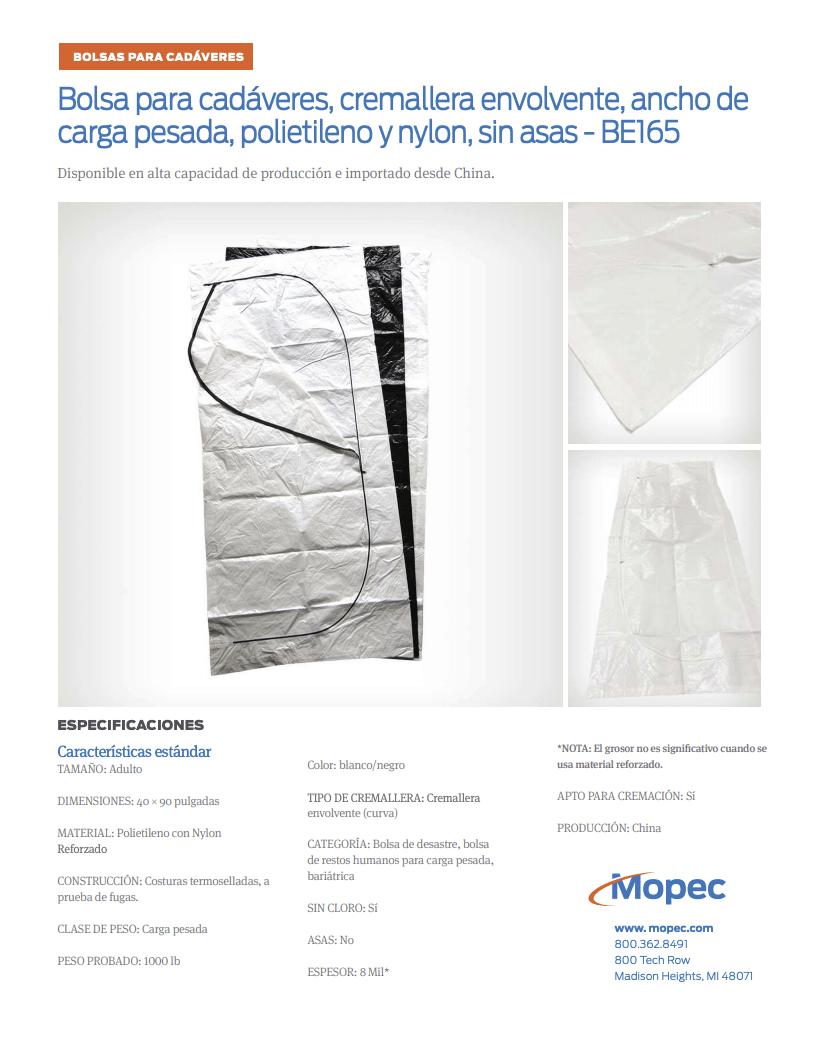 Download Mopec BE165 Spec Sheet - Spanish
