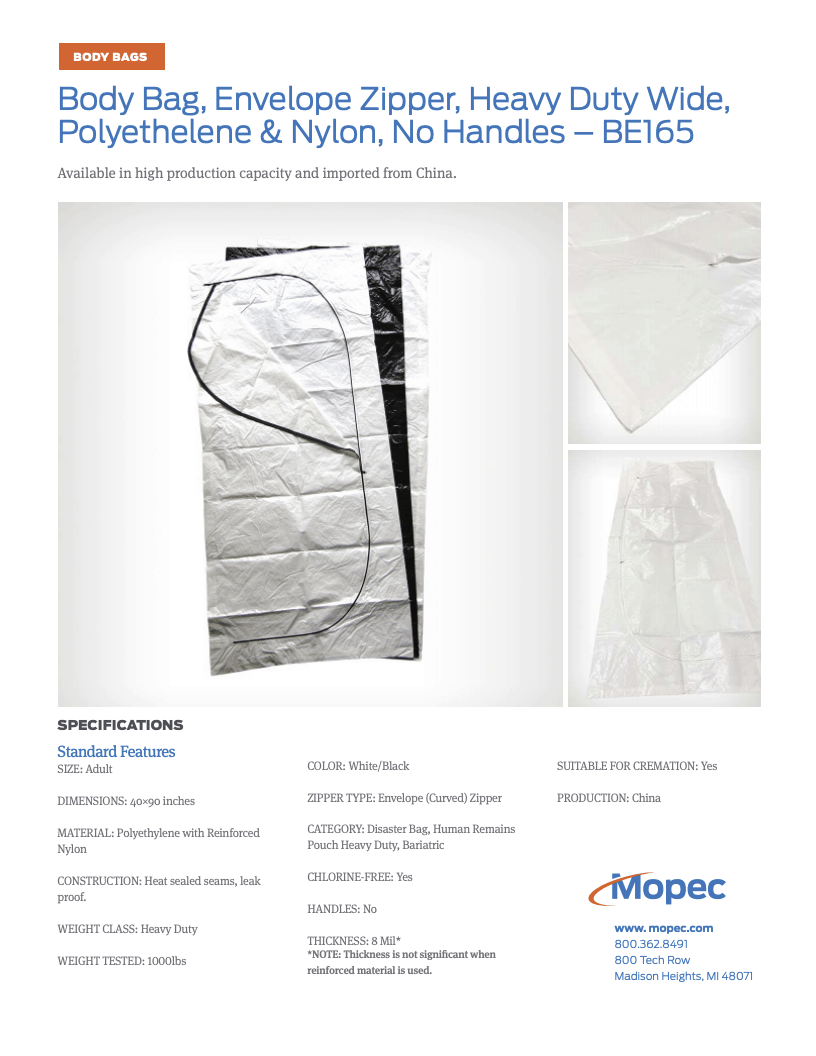 Download Mopec BE165 Spec Sheet