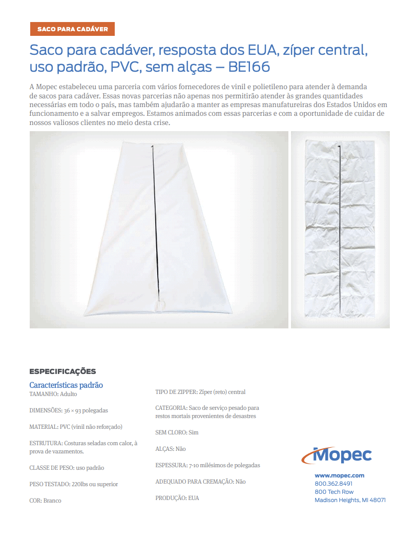 Download Mopec BE166 Spec Sheet - Portuguese