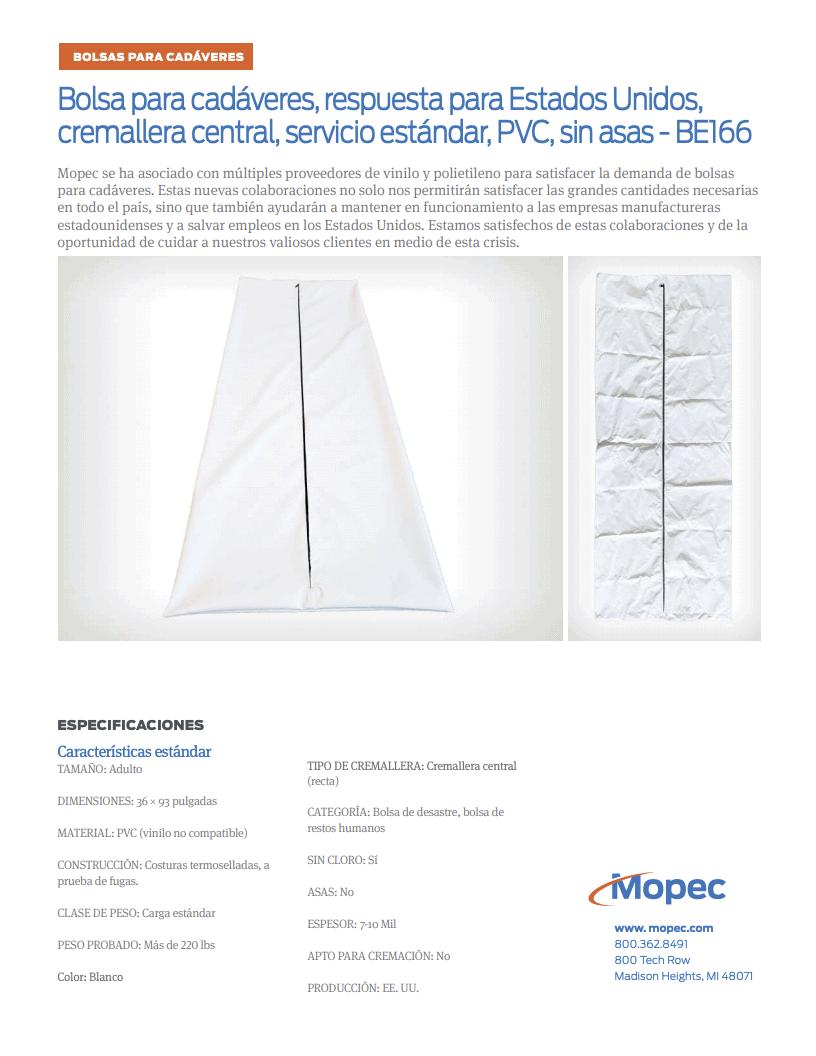 Download Mopec BE166 Spec Sheet - Spanish