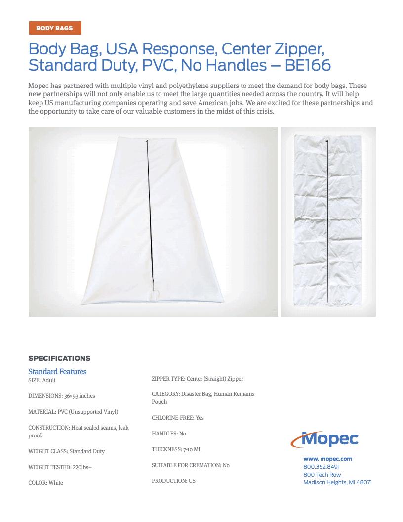 Download Mopec BE166 Spec Sheet