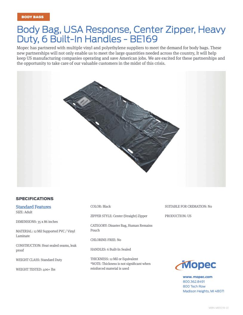 Download Mopec BE169 Spec Sheet
