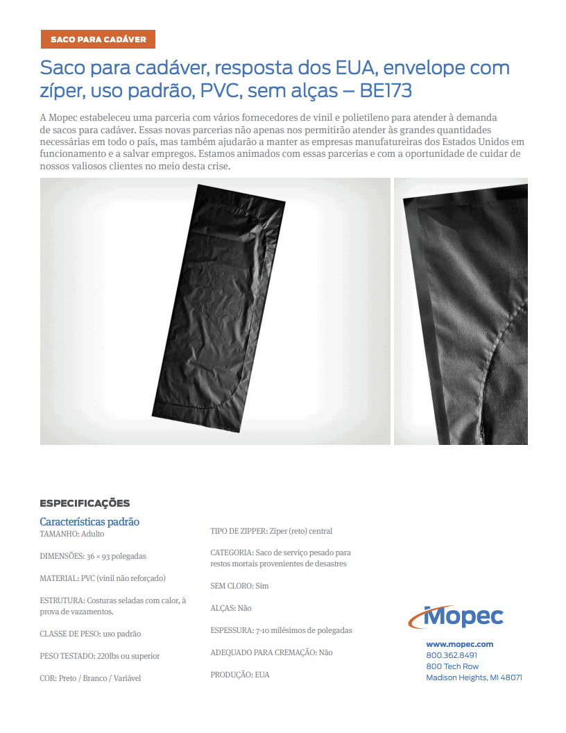 Download Mopec BE173 Spec Sheet - Portuguese