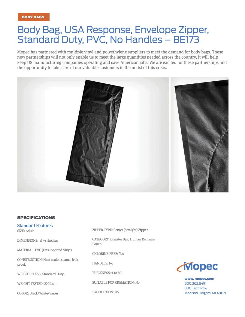 Download Mopec BE173 Spec Sheet