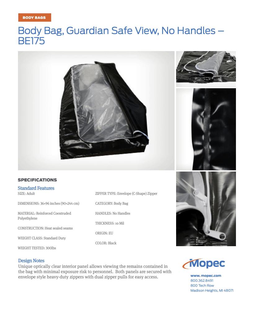 Download Mopec BE175 Spec Sheet