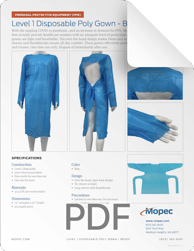 Download Mopec Level 1 Gown Spec Sheet